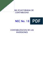 NEC 18 Contabilización de las Inversiones