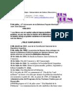 CULTURA - Efemérides 9 al 30-7-2013