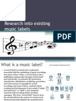 Research Into Existing Music Labels