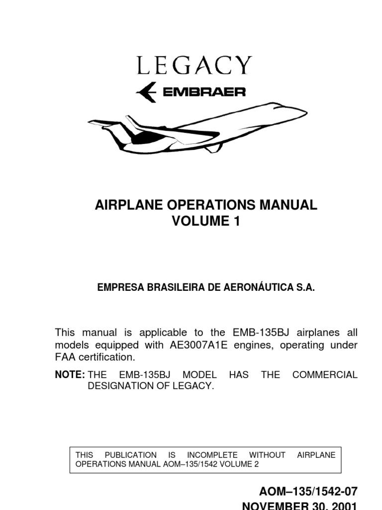 Embraer Emb-135bj Aom Vol. 1 Aom | Federal Aviation Administration |  Aerospace Engineering