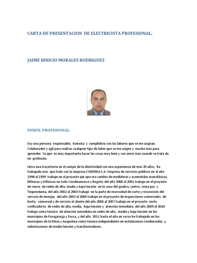 Carta de Presentacion de Tecnico Electricista Profesional
