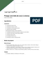 Receita Frango Com Leite de Coco