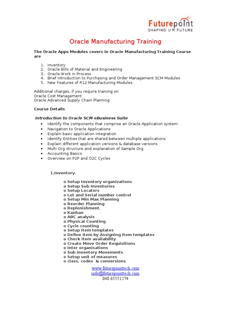 Oracle Manufacturing  doc | Oracle Corporation | Inventory