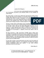 Mensaje del Padre Marcel Blanchet - Julio 2013 - Bélgica Centro Internacional de las Pequeñas Almas
