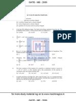 GATE Paper Mechanical Engineering 2005