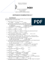 Entrance Exam g7