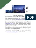 PhD position_Mühlemann_University Bern_130704