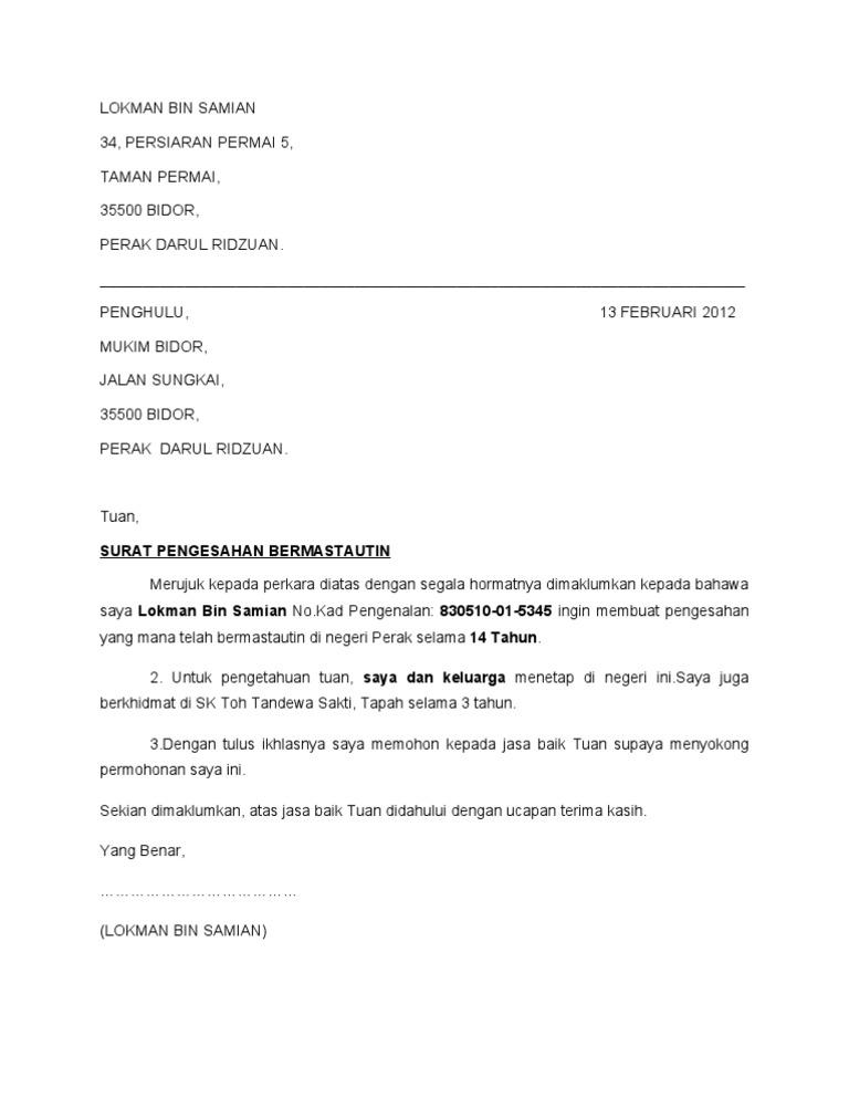Contoh Surat Pengesahan Bermastautin Kedah
