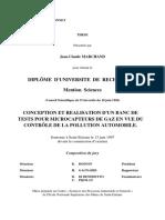 Marchand J-M. Banc de Tests Pour Microcapteurs de Gaz