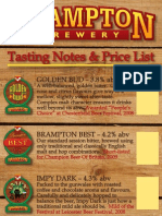 Brampton Brewery - Beer Menu Card