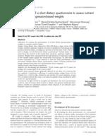Performance Short Dietary Questionnaire Vercambre