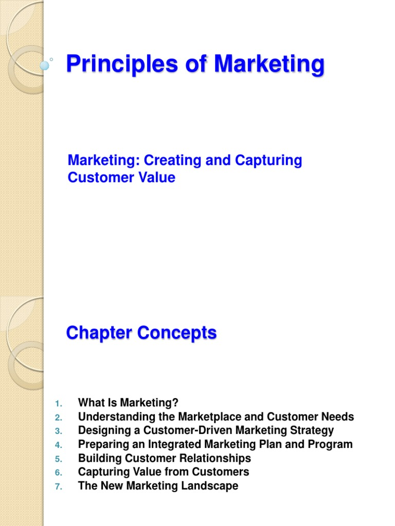 chap 1 marketing creating and capturing Chapter 1 marketing: creating and capturing customer value 73) elisandra, a marketing manager at a regional chain restaurant, has decided to organize a contest calling for customers to create commercials for the.