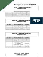 Libros de Texto Curso 2013-2014