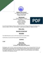 Medford City Council Agenda July 9, 2013