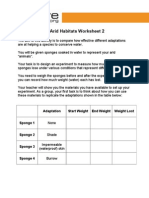 11-14yrs - Adaptations to Arid Habitats - Activity 2 Worksheet