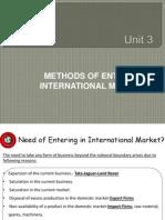 Stratergic Methods of Entering International Market