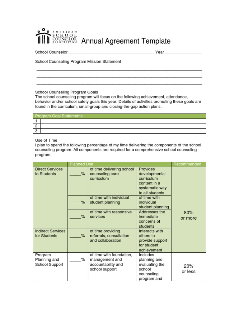 Annualagreement School Counselor Curriculum
