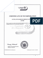 Certificate of Incorporation Auckland Harbour Bridge Pathway (SkyPath)
