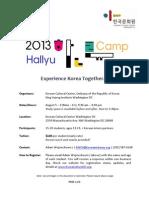 Hallyu Camp 2013 - Program Outline v1.0