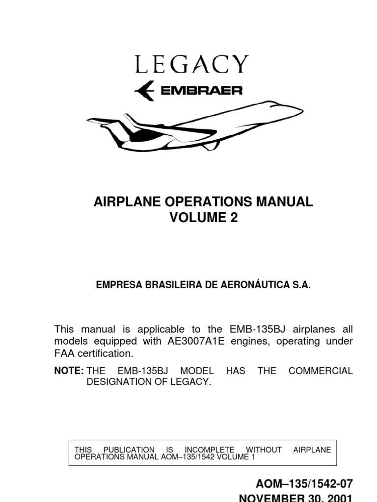 Embraer Emb 135bj Aom Vol 2 Aircraft Flight Control System Current Relay Surfaces