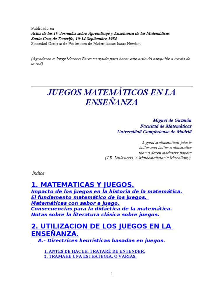 ENSEÑANZA CON JUEGOS EN LA MATEMAT-GUZMAN