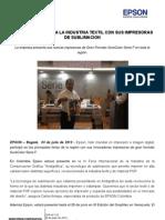 Comunicado de Prensa Epson Revoluciona La Indrustria Textil Con Sus Impresoras de Sublimacion