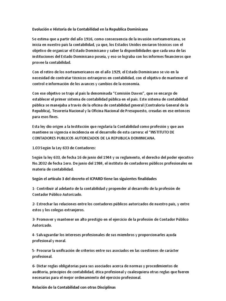 Evolución e Historia de la Contabilidad en la Republica Dominicana