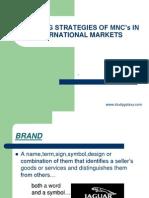 Branding Strategies of MNCS in International Markets