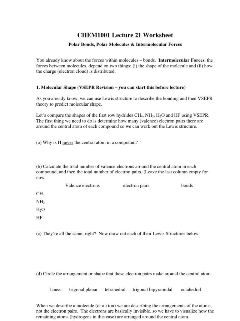 L21 Worksheet 1 | Chemical Polarity | Chemical Bond