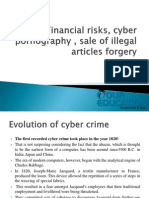 Financial risks, cyber pornography , sale of illegal articles forgery