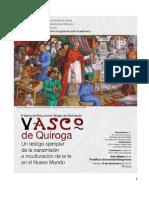 Vasco de Quiroga, testigo ejemplar en la trasmisión e inculturación de la fe.