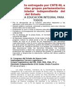 CNTE-NL, DOCUMENTO ENTREGADO AL CONGRESO DEL ESTADO, HACIA UNA EDUCACIàN INTEGRAL PARA TODOS.doc