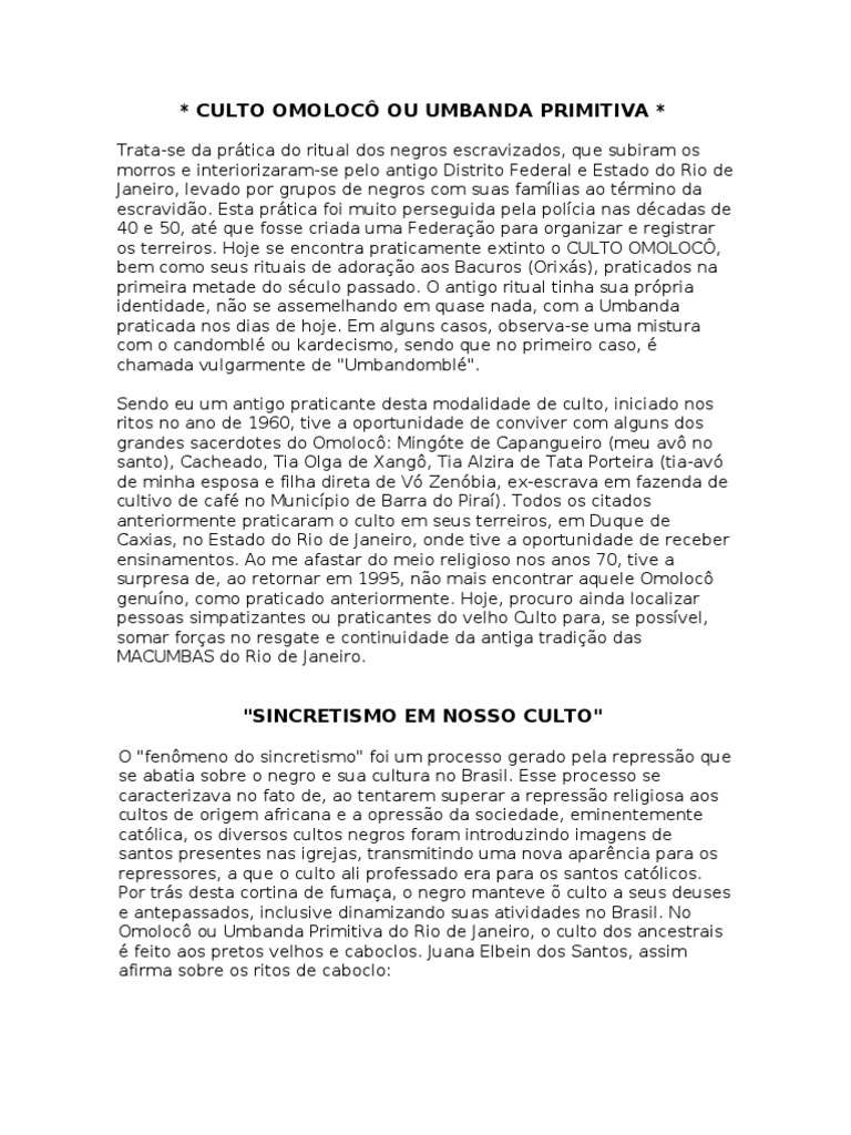culto omolocÔ ou umbanda primitiva(2)