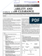 Australian Prescriber (1988) Bioavailability and First Past Clearance