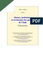 Abbé Dubois, Moeurs, institutions et cérémonies des peuples de l'Inde_t1