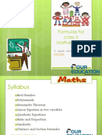 Formulas for Class X Mathematics