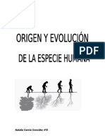 Origen y evolución de la especie humana. BIOLOGÍA.