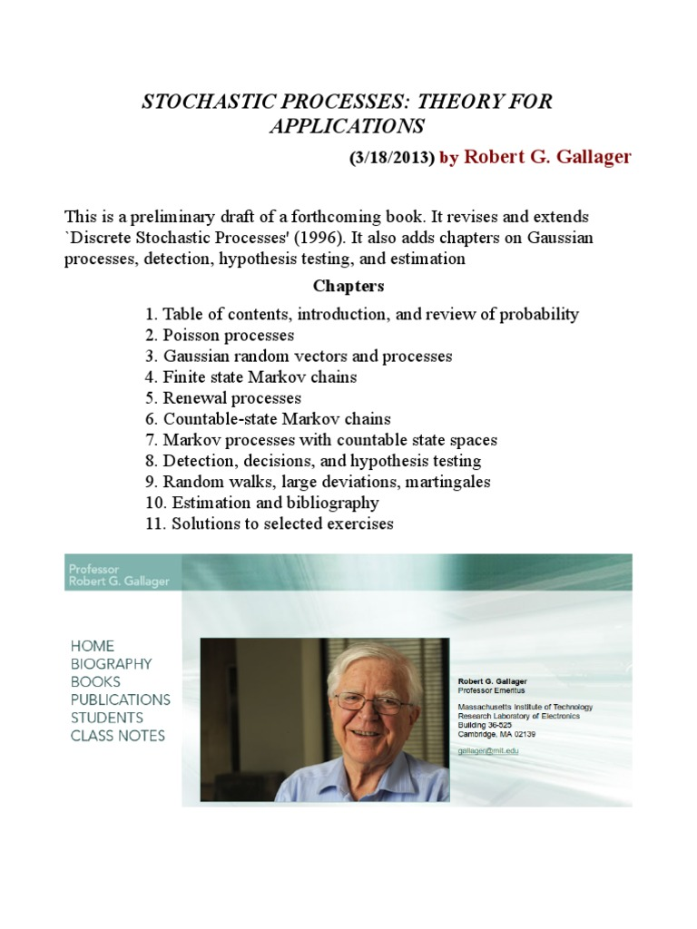Stochastic Processes --Theory for Applications by Robert g. Gallager |  Stochastic Process | Probability Theory