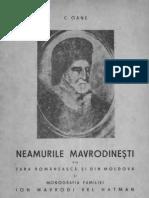 Neamurile Mavrodineşti din Ţara Românească şi din Moldova şi Monografia familiei Ion Mavrodi vel Hatman