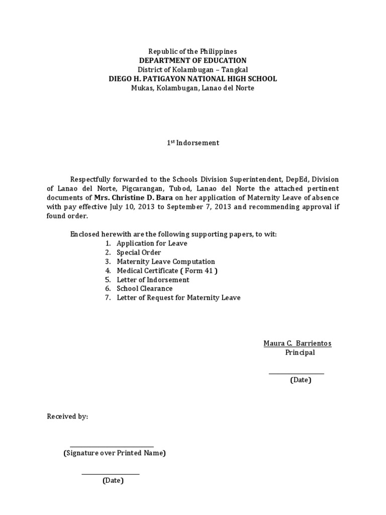 Example Letter To Request Maternity Leave.  Endorsement Papers for maternity leave