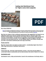 Diet, Feeding and Nutritional Care of Captive Tigers, Lions and Leopards