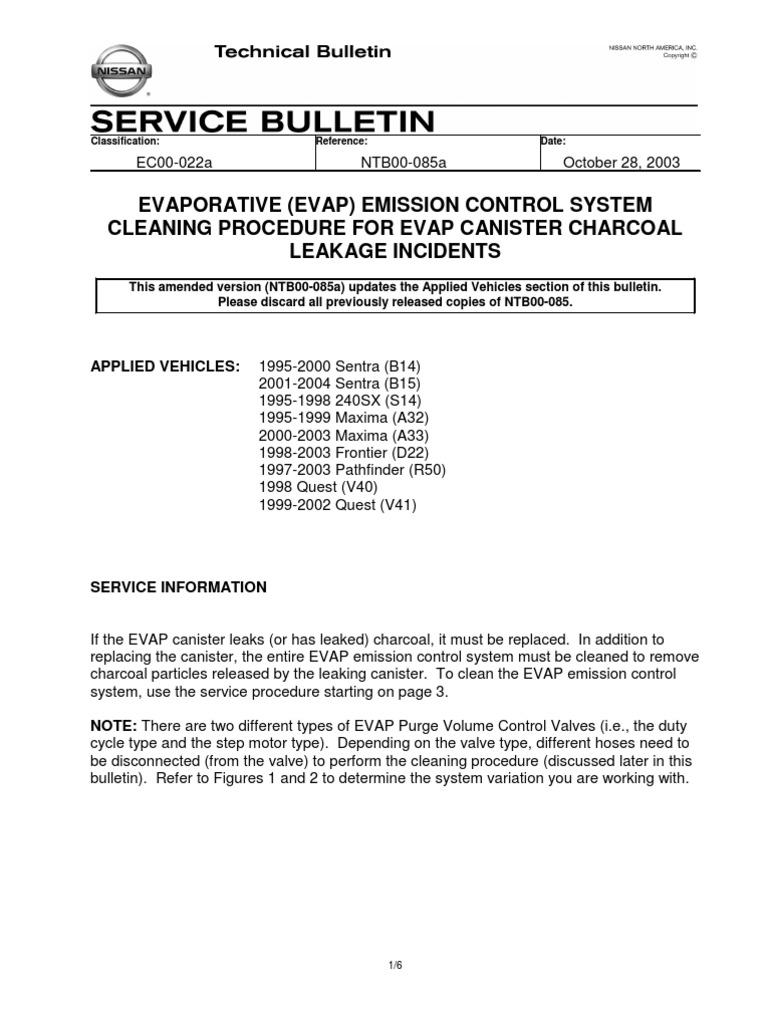 Nissan Sentra Service Manual: Evap leak check