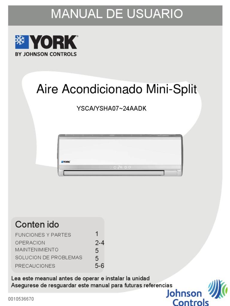 Manual de usuario aire york air conditioning remote for Manual aire acondicionado