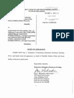 Holten v Narconon- G RICHARDSON Notice of Appearance