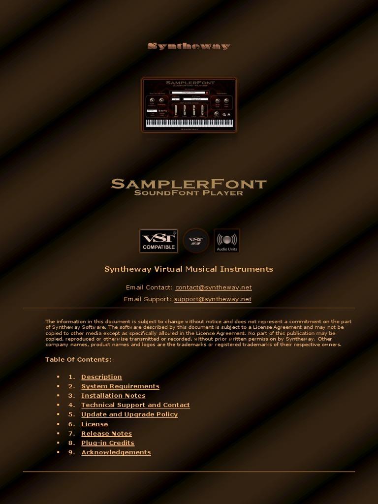 SamplerFont SoundFont Player VST VST3 64 bit for Windows and
