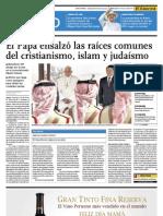 El Papa ensalza las raíces comunes del cristianismo, islamismo y judaismo