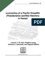 economics of a pacific threadfin hatchery