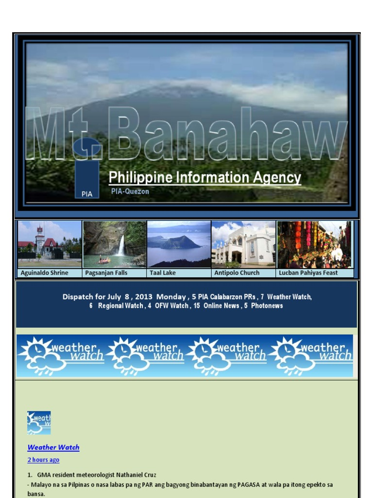 Dispatch For July 8 2013 Monday 5 Pia Calabarzon Prs 7