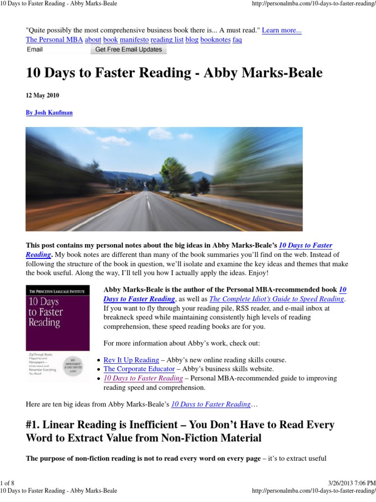 10 DAYS TO FASTER READING ABBY MARKS-BEALE PDF