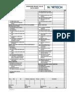 Pressure Relief Valve Data Sheet